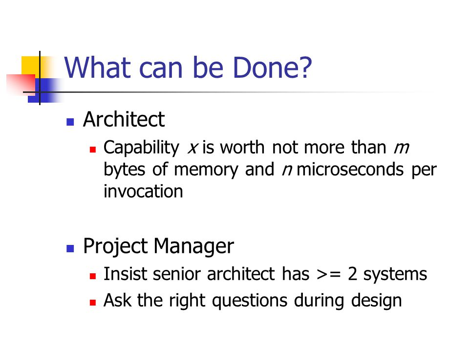 What can be Done Architect Project Manager