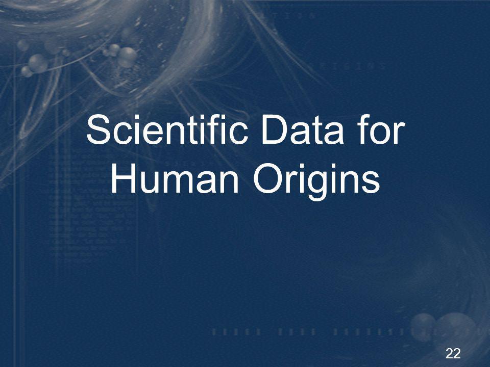 Scientific Data for Human Origins