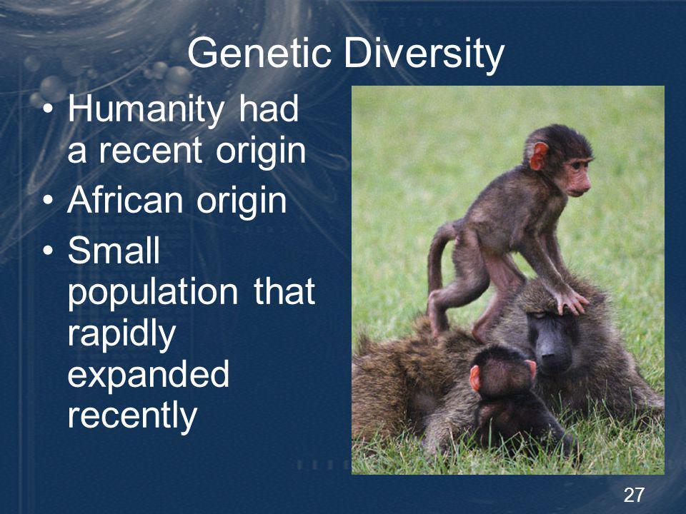 Genetic Diversity Humanity had a recent origin African origin