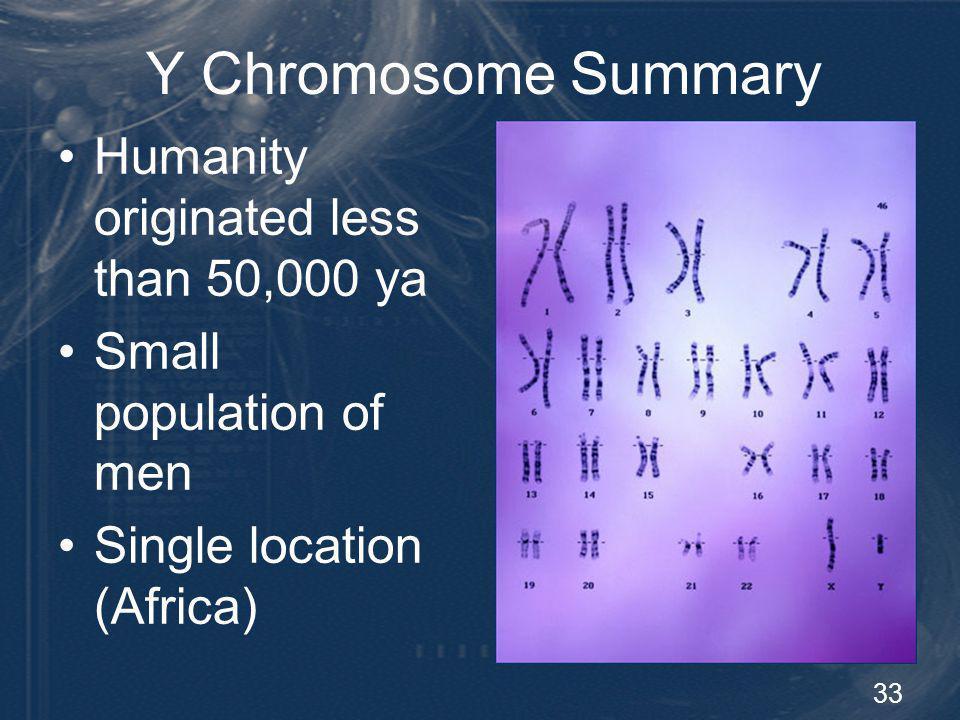 Y Chromosome Summary Humanity originated less than 50,000 ya