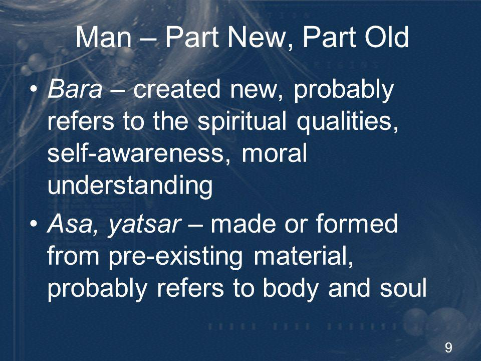 Man – Part New, Part Old Bara – created new, probably refers to the spiritual qualities, self-awareness, moral understanding.