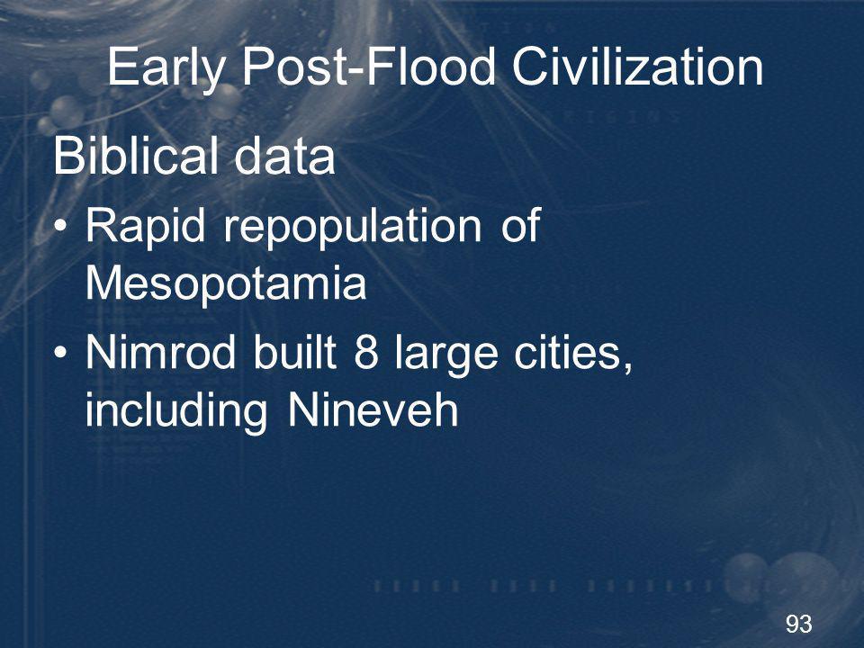 Early Post-Flood Civilization
