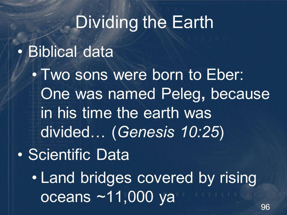 Dividing the Earth Biblical data