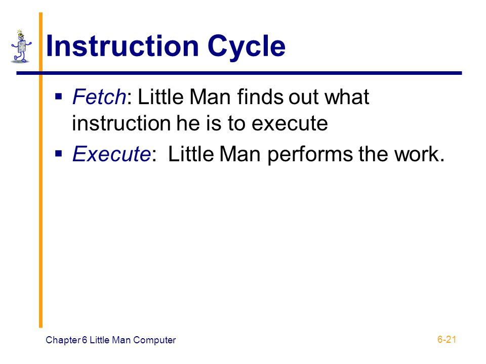 Instruction Cycle Fetch: Little Man finds out what instruction he is to execute. Execute: Little Man performs the work.