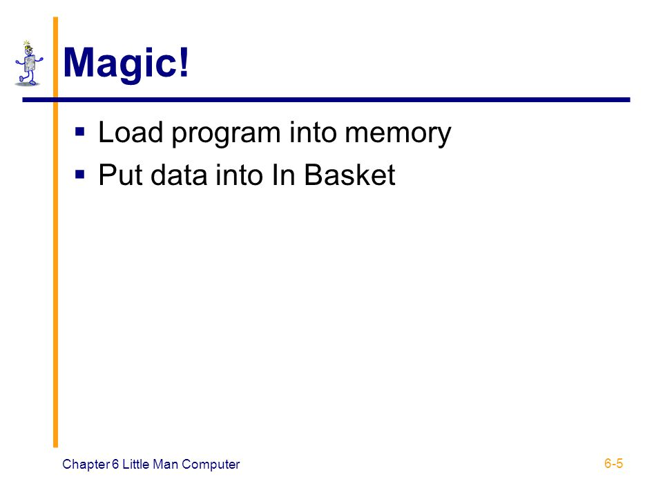 Magic! Load program into memory Put data into In Basket