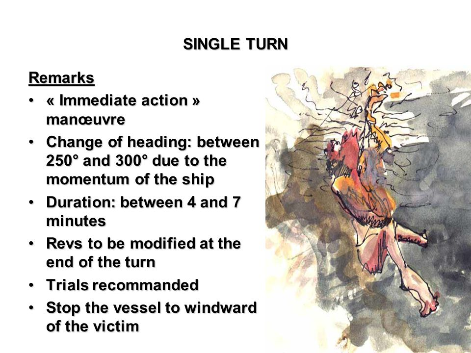 SINGLE TURN Remarks. « Immediate action » manœuvre. Change of heading: between 250° and 300° due to the momentum of the ship.