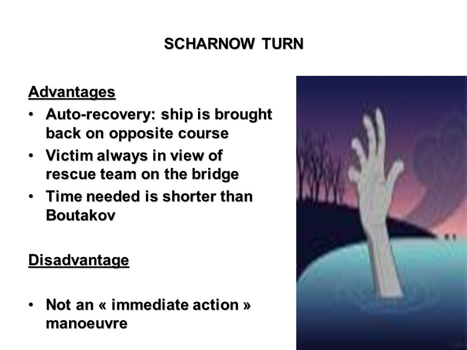 SCHARNOW TURN Advantages. Auto-recovery: ship is brought back on opposite course. Victim always in view of rescue team on the bridge.