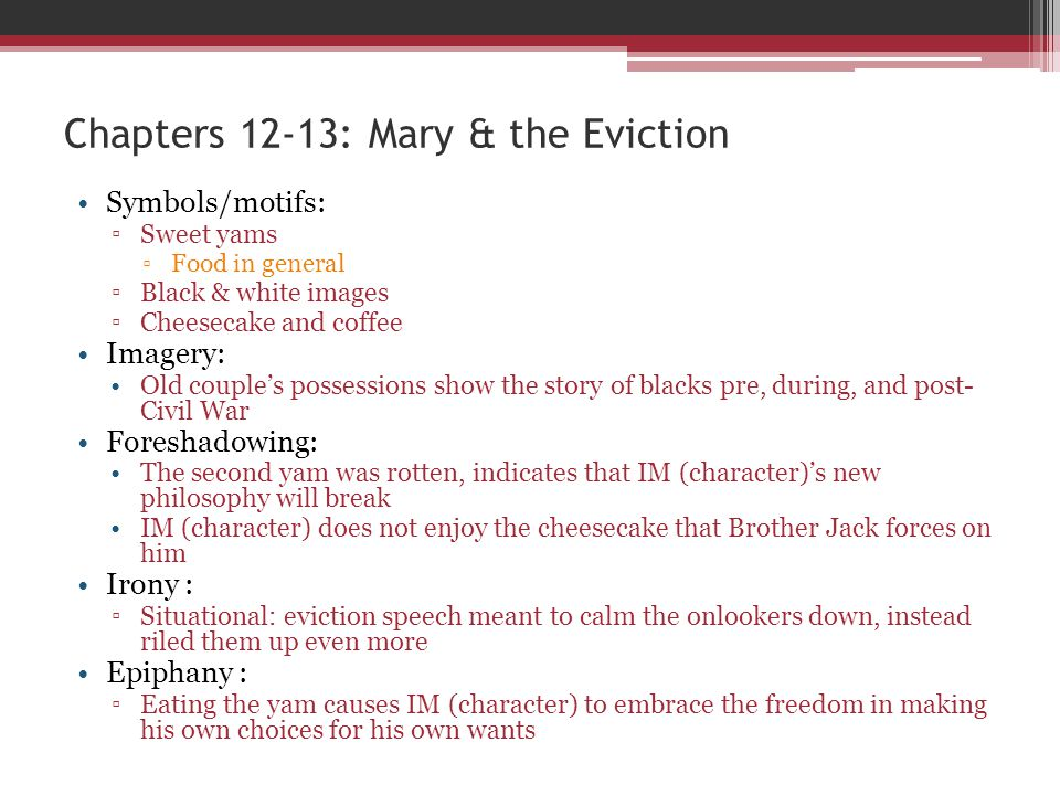 Chapters 12-13: Mary & the Eviction