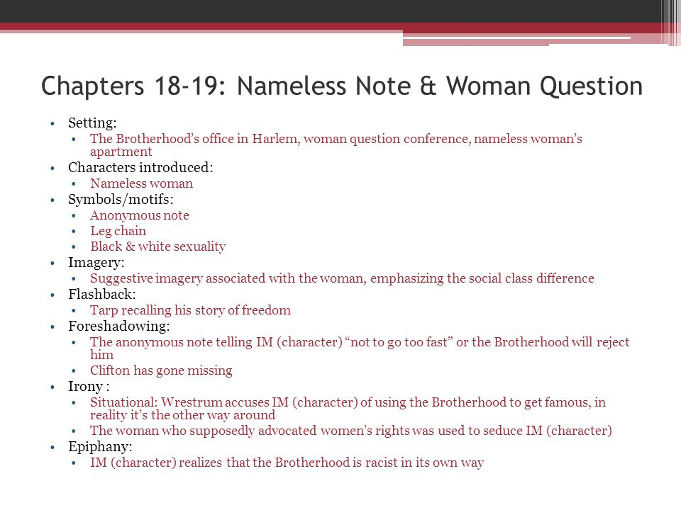 Chapters 18-19: Nameless Note & Woman Question