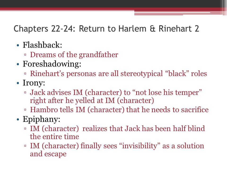 Chapters 22-24: Return to Harlem & Rinehart 2