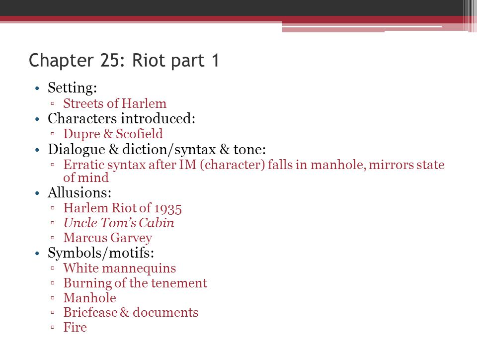 Chapter 25: Riot part 1 Setting: Characters introduced:
