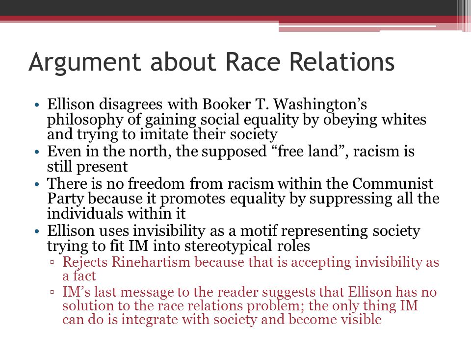 Argument about Race Relations