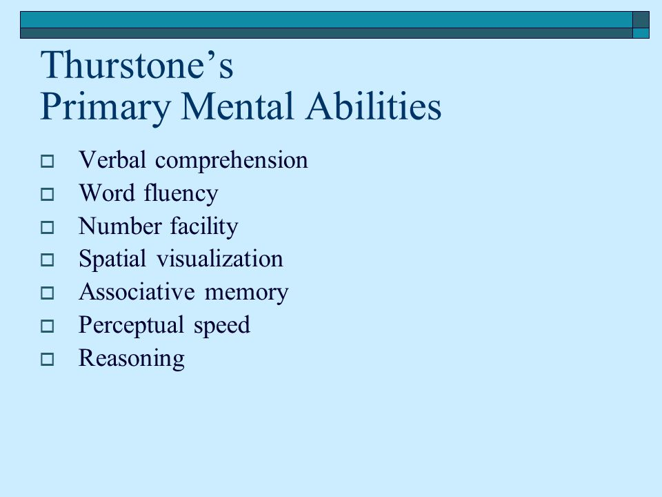 Thurstone's Primary Mental Abilities