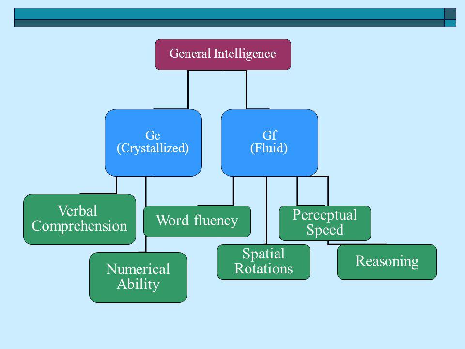 Verbal Comprehension Perceptual Word fluency Speed Spatial Reasoning