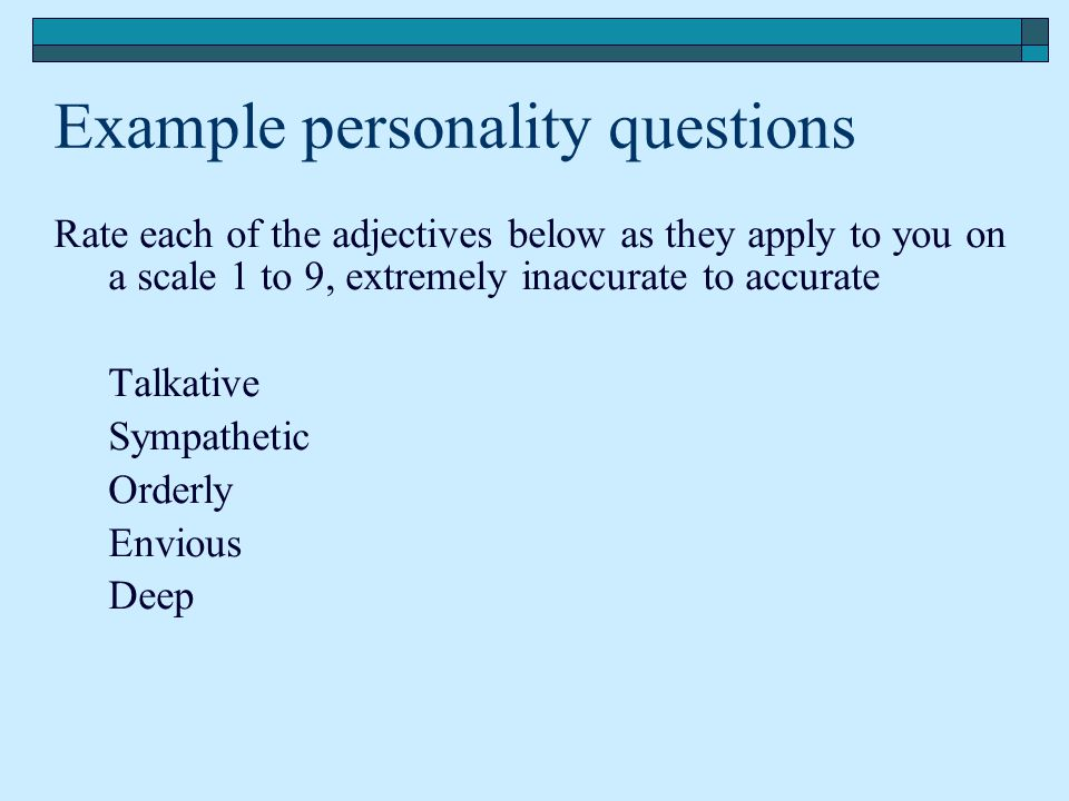 Example personality questions