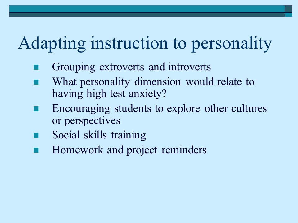 Adapting instruction to personality