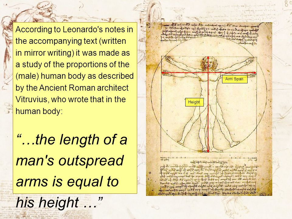…the length of a man s outspread arms is equal to his height …