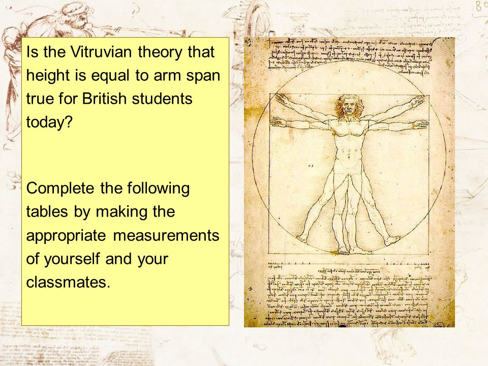 Is the Vitruvian theory that height is equal to arm span true for British students today
