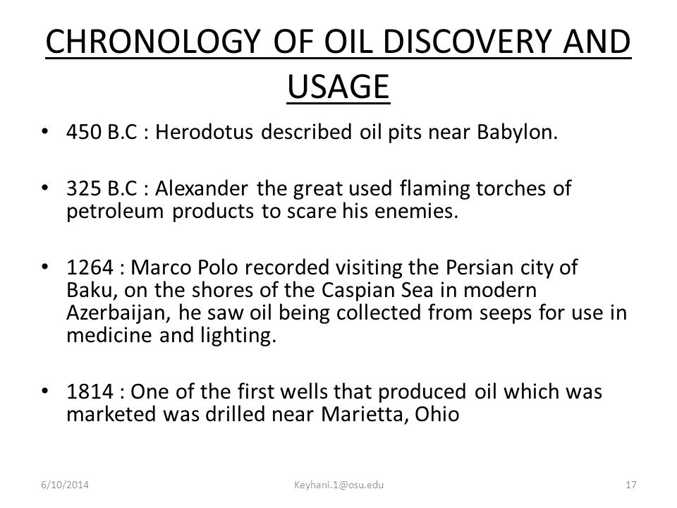 CHRONOLOGY OF OIL DISCOVERY AND USAGE