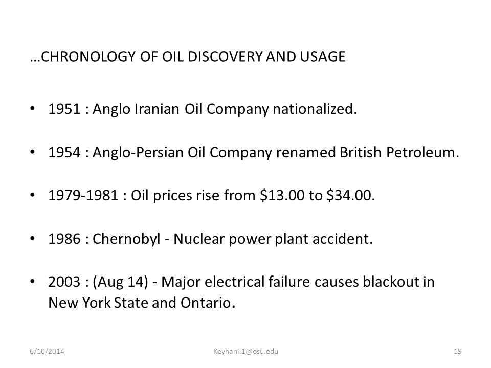 …CHRONOLOGY OF OIL DISCOVERY AND USAGE