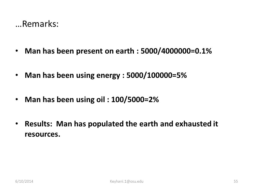…Remarks: Man has been present on earth : 5000/4000000=0.1%