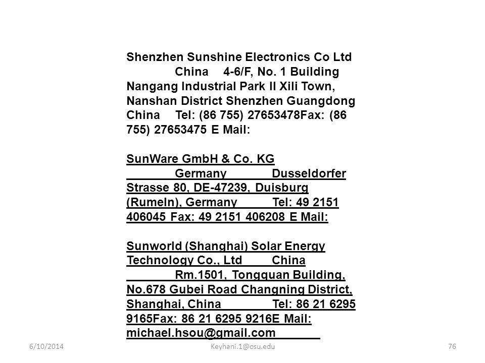 Shenzhen Sunshine Electronics Co Ltd. China. 4-6/F, No