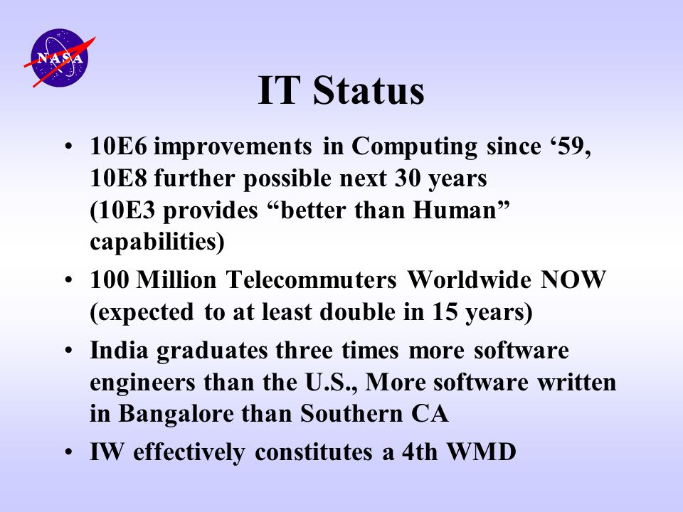 IT Status 10E6 improvements in Computing since '59, 10E8 further possible next 30 years (10E3 provides better than Human capabilities)