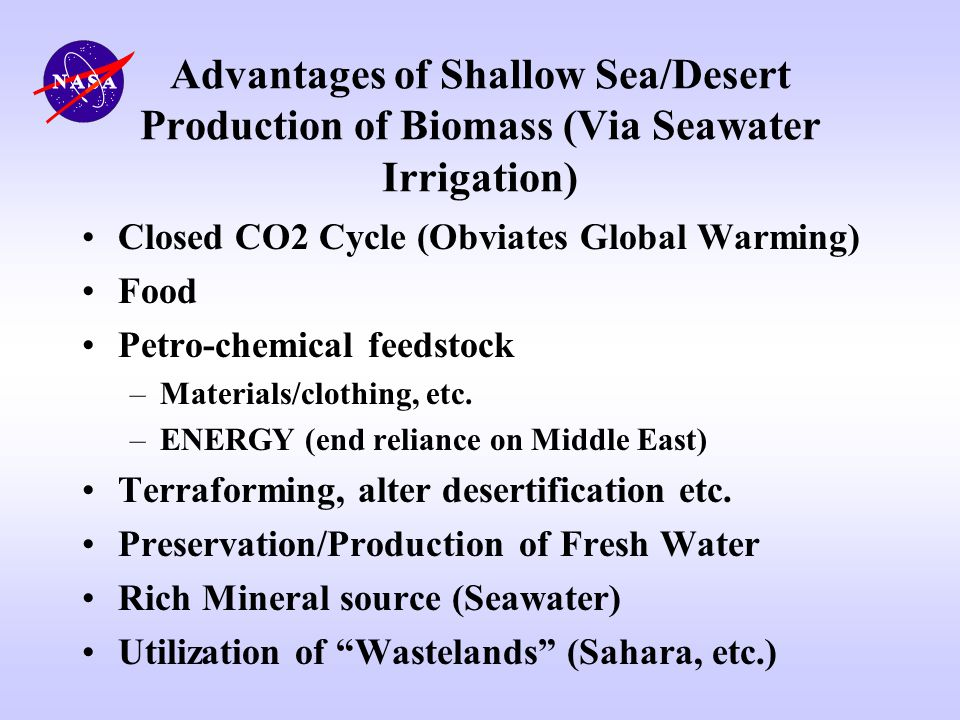 Advantages of Shallow Sea/Desert Production of Biomass (Via Seawater Irrigation)
