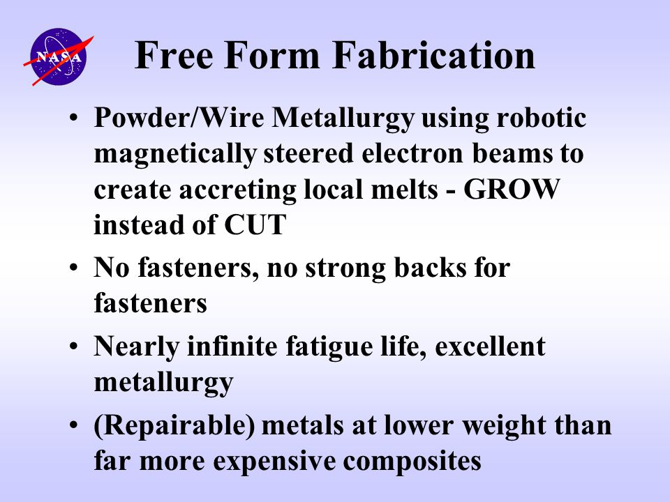 Free Form Fabrication Powder/Wire Metallurgy using robotic magnetically steered electron beams to create accreting local melts - GROW instead of CUT.