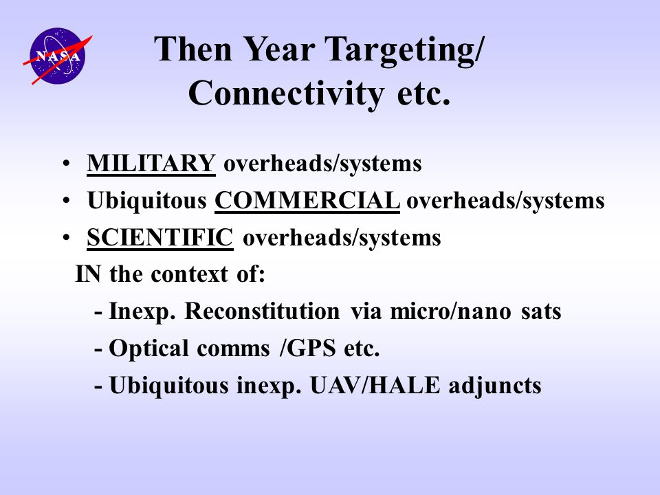 Then Year Targeting/ Connectivity etc.