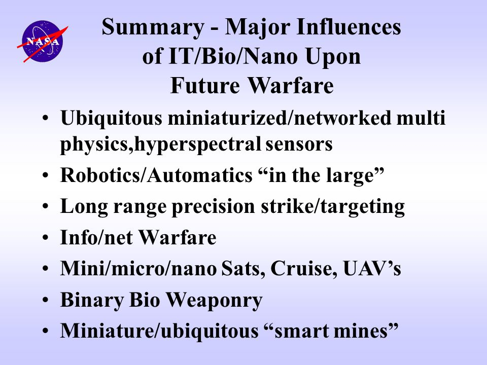 Summary - Major Influences of IT/Bio/Nano Upon Future Warfare