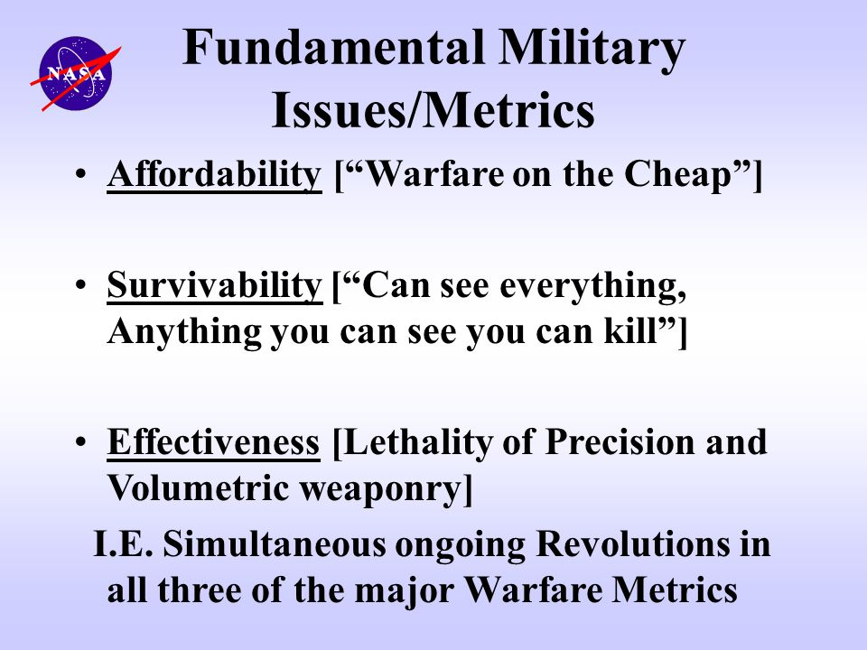 Fundamental Military Issues/Metrics
