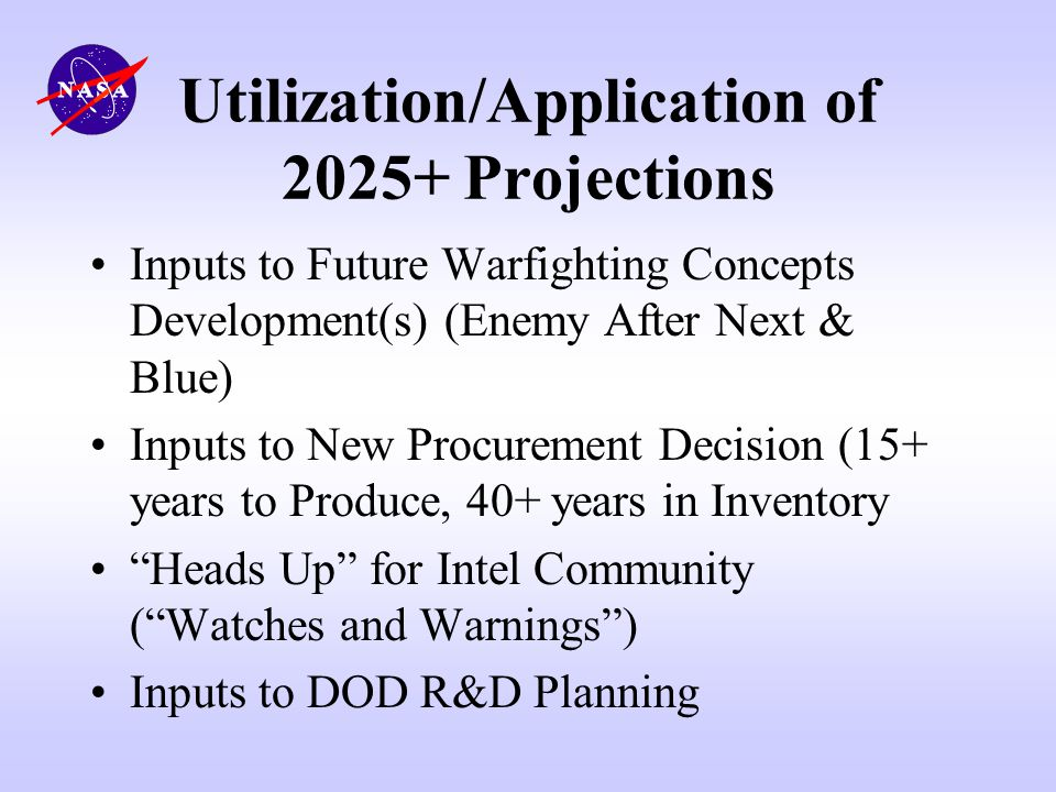 Utilization/Application of 2025+ Projections