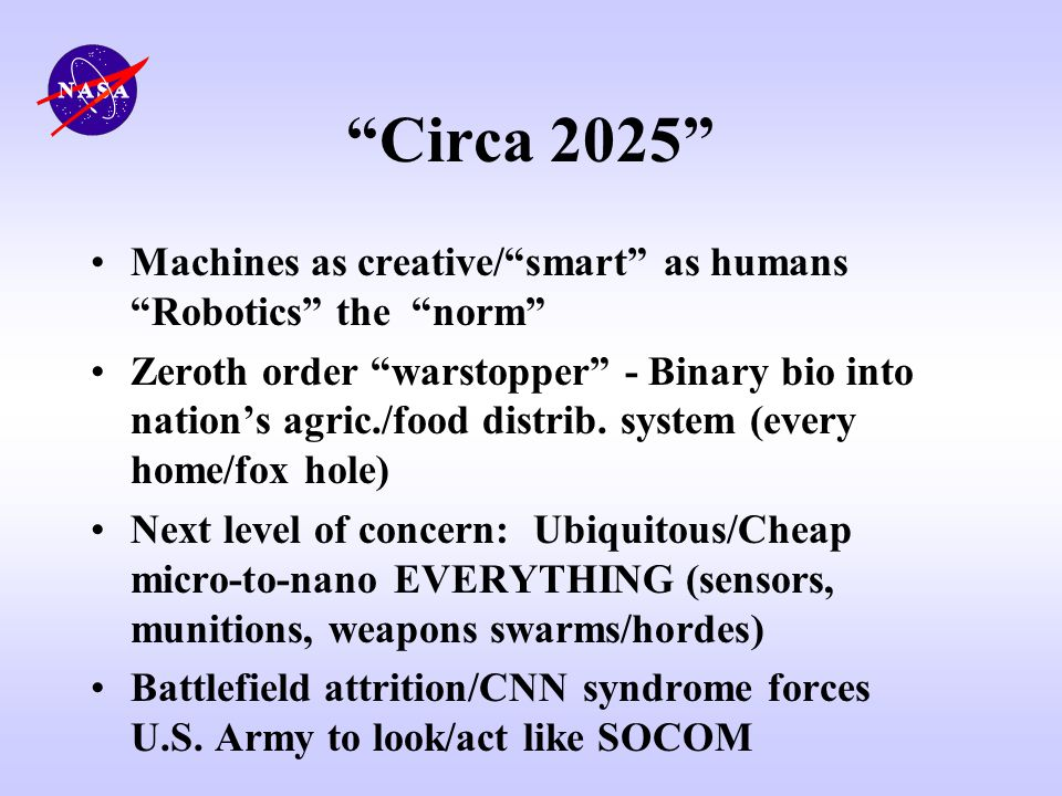 Circa 2025 Machines as creative/ smart as humans Robotics the norm
