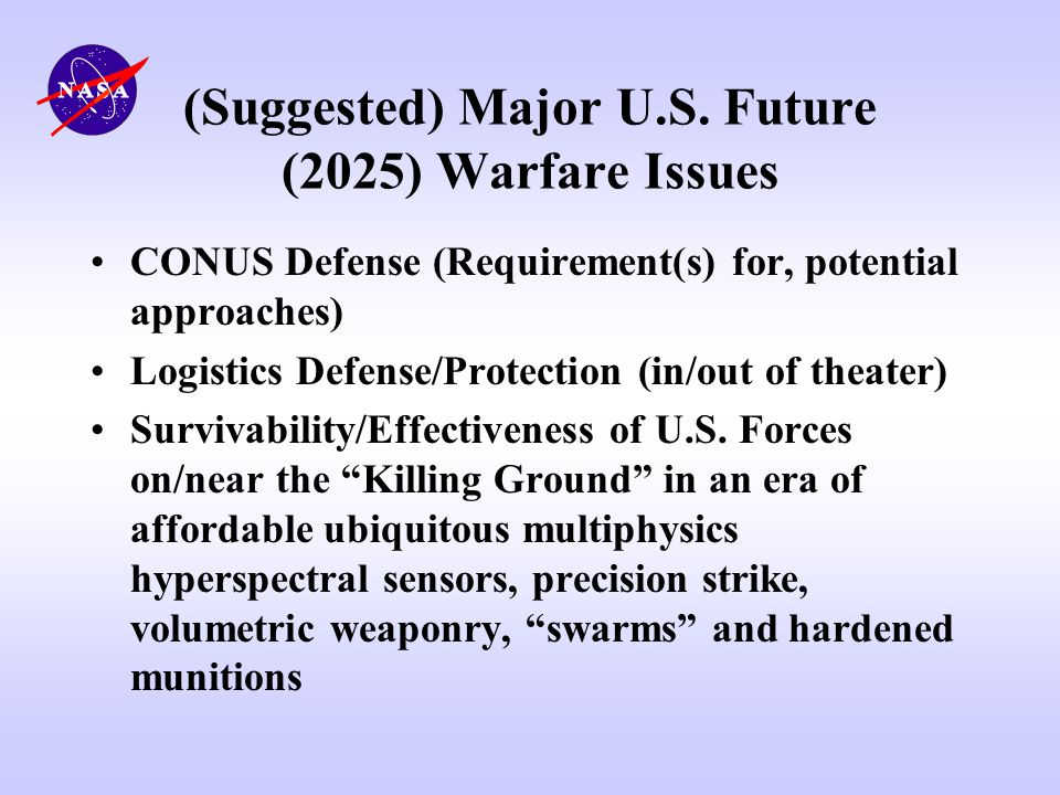 (Suggested) Major U.S. Future (2025) Warfare Issues