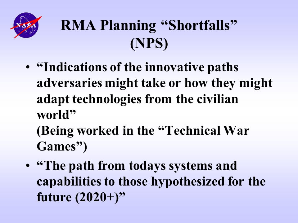 RMA Planning Shortfalls (NPS)