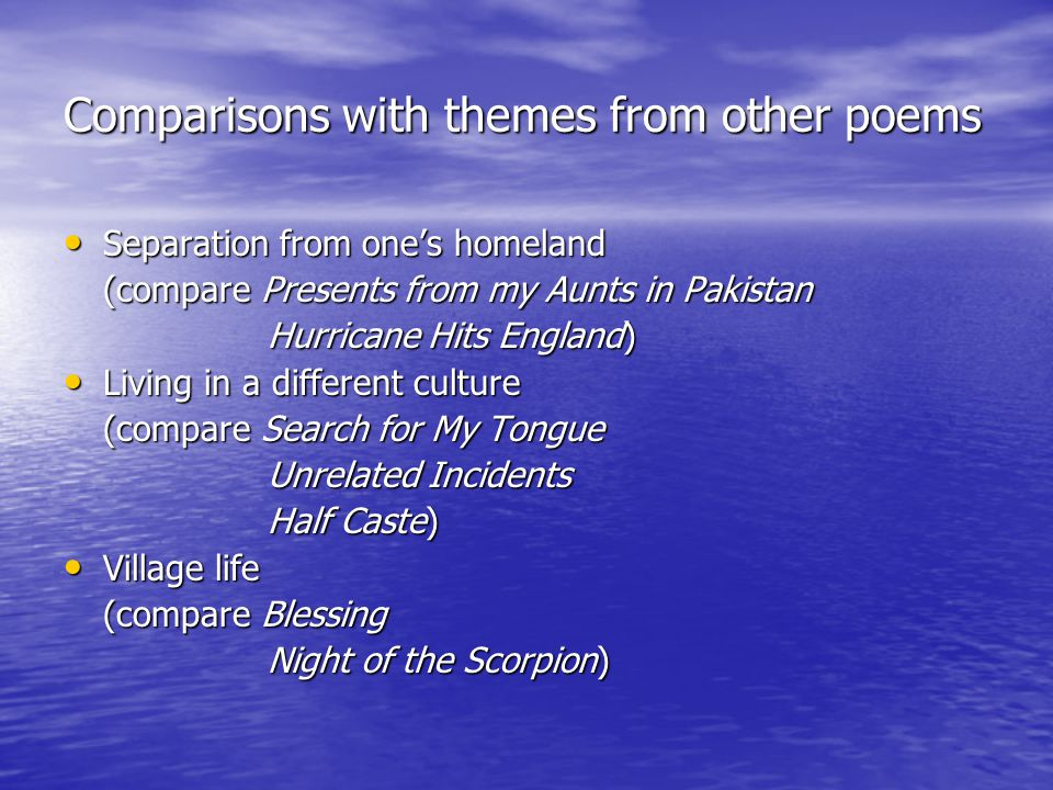 Comparisons with themes from other poems
