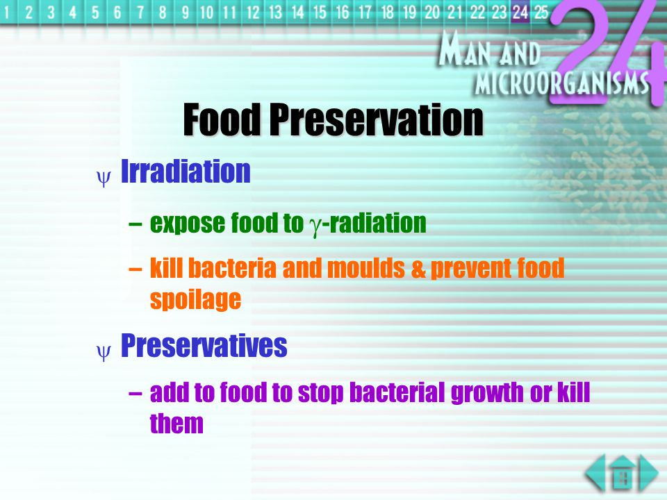 Food Preservation Irradiation Preservatives expose food to -radiation