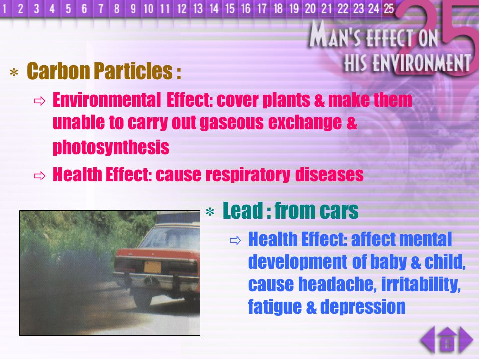 Carbon Particles : Lead : from cars