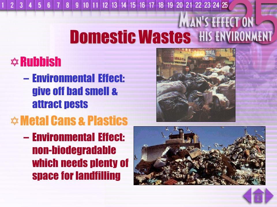 Domestic Wastes Rubbish Metal Cans & Plastics