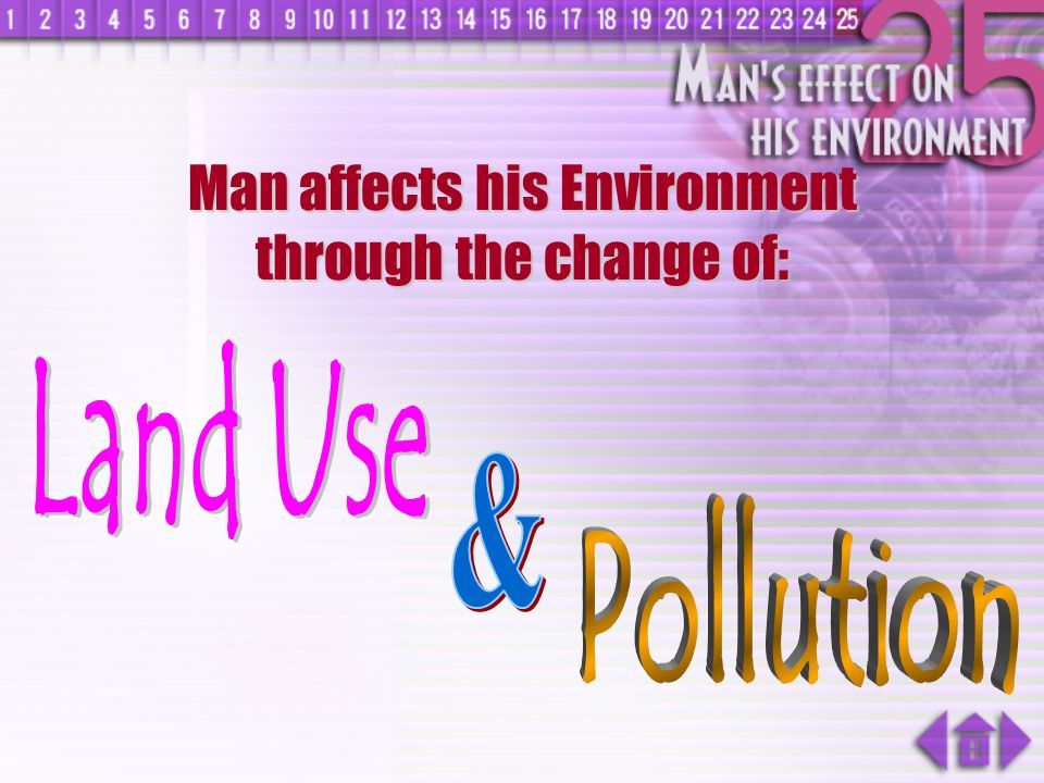 Man affects his Environment through the change of: