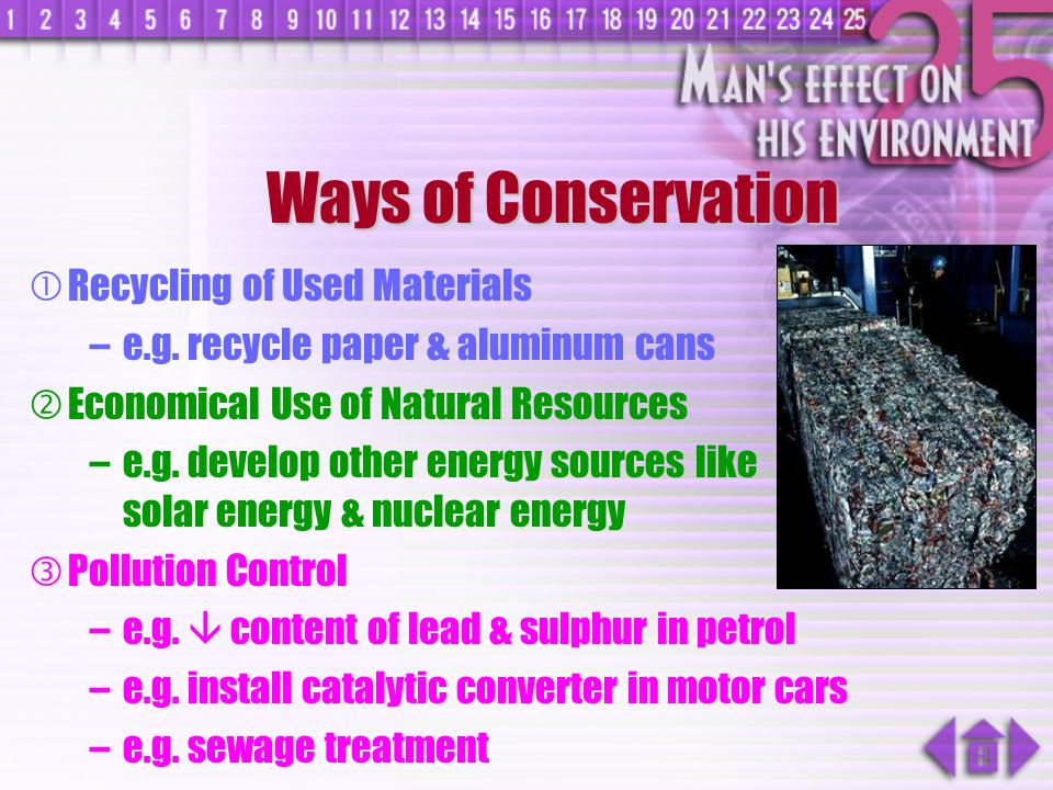 Ways of Conservation Recycling of Used Materials