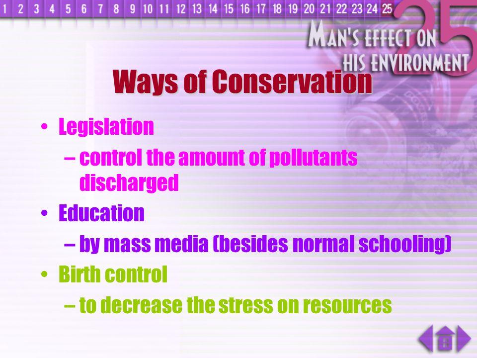Ways of Conservation Legislation