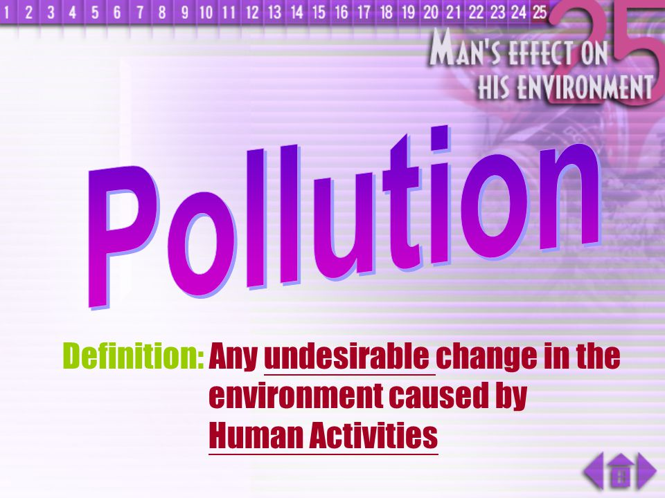 Pollution Definition: Any undesirable change in the environment caused by Human Activities
