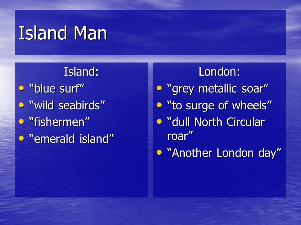 Island Man Island: blue surf wild seabirds fishermen