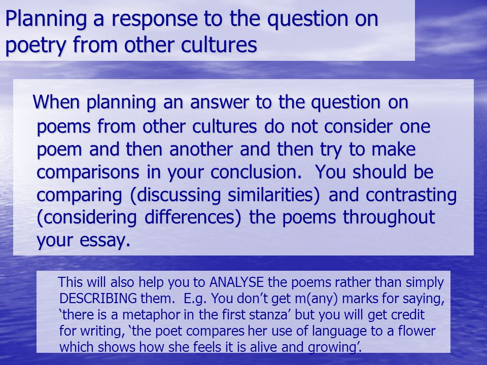 Planning a response to the question on poetry from other cultures
