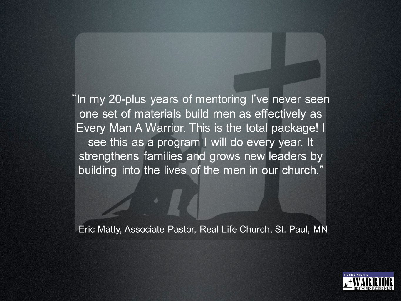Eric Matty, Associate Pastor, Real Life Church, St. Paul, MN