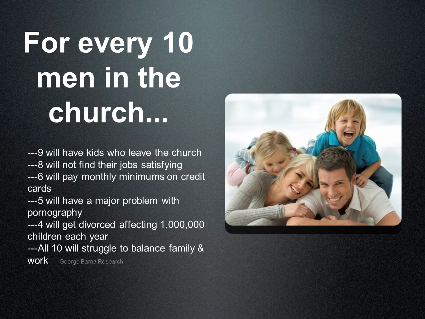 For every 10 men in the church...