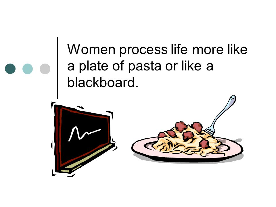 Women process life more like a plate of pasta or like a blackboard.