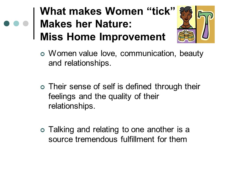 What makes Women tick Makes her Nature: Miss Home Improvement